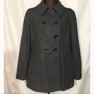 MICHAEL KORS Double Breasted Pea Coat Charcoal